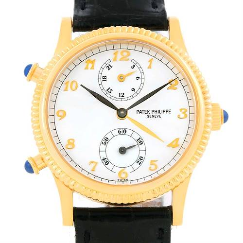 Photo of Patek Philippe Calatrava Travel Time Yellow Gold Ladies Watch 4864J Papers