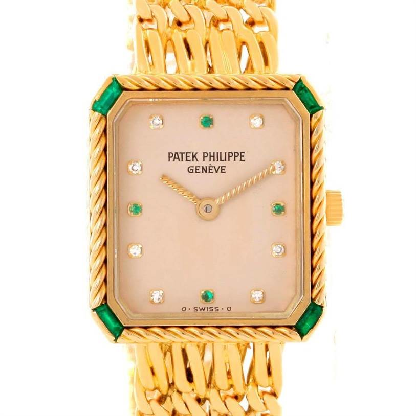 Patek Philippe 18k Yellow Gold Diamond Emerald Ladies Watch 4667