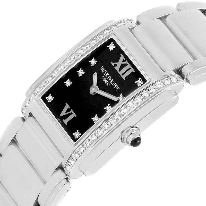 Patek Philippe Twenty-4 Black Diamond Dial Steel Ladies Watch 4910 SwissWatchExpo