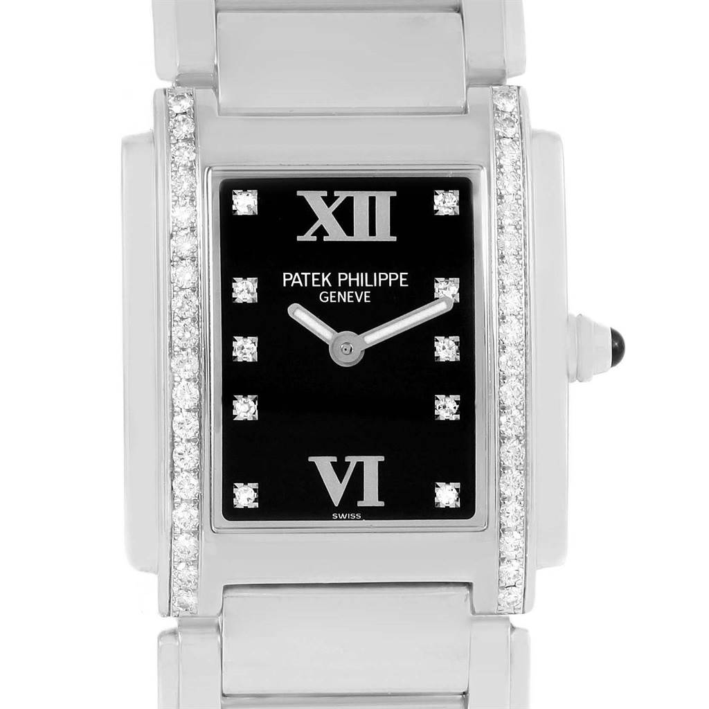 Patek Philippe Twenty-4 Black Diamond Dial Steel Ladies Watch 4910