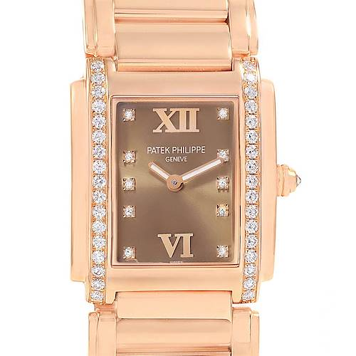 Photo of Patek Philippe Twenty-4 Rose Gold Diamond Ladies Watch 4910 Box Papers