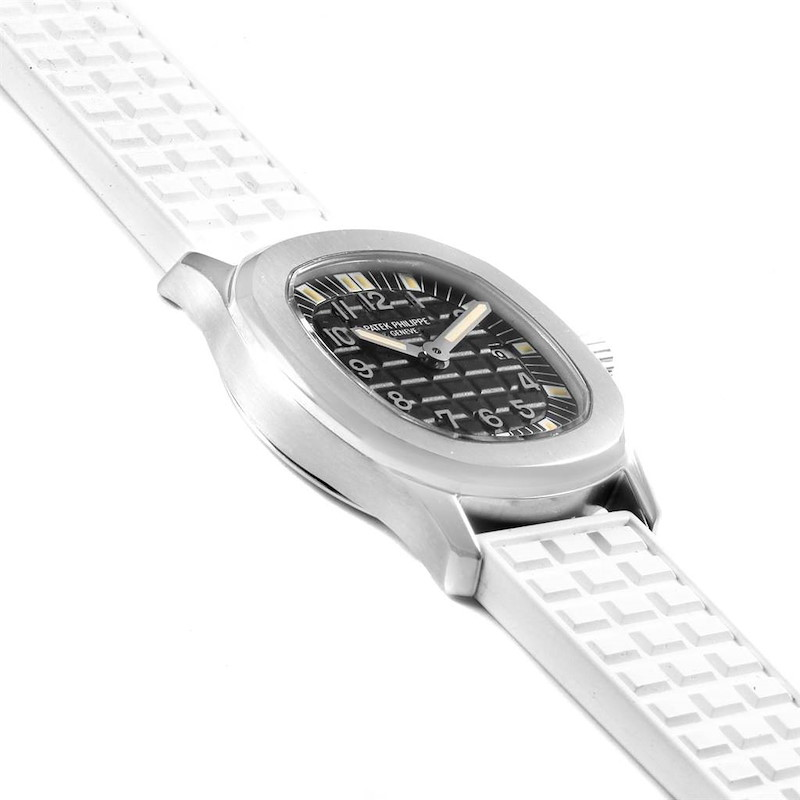 Patek Philippe Aquanaut Steel White Rubber Strap Ladies Watch 4960 SwissWatchExpo