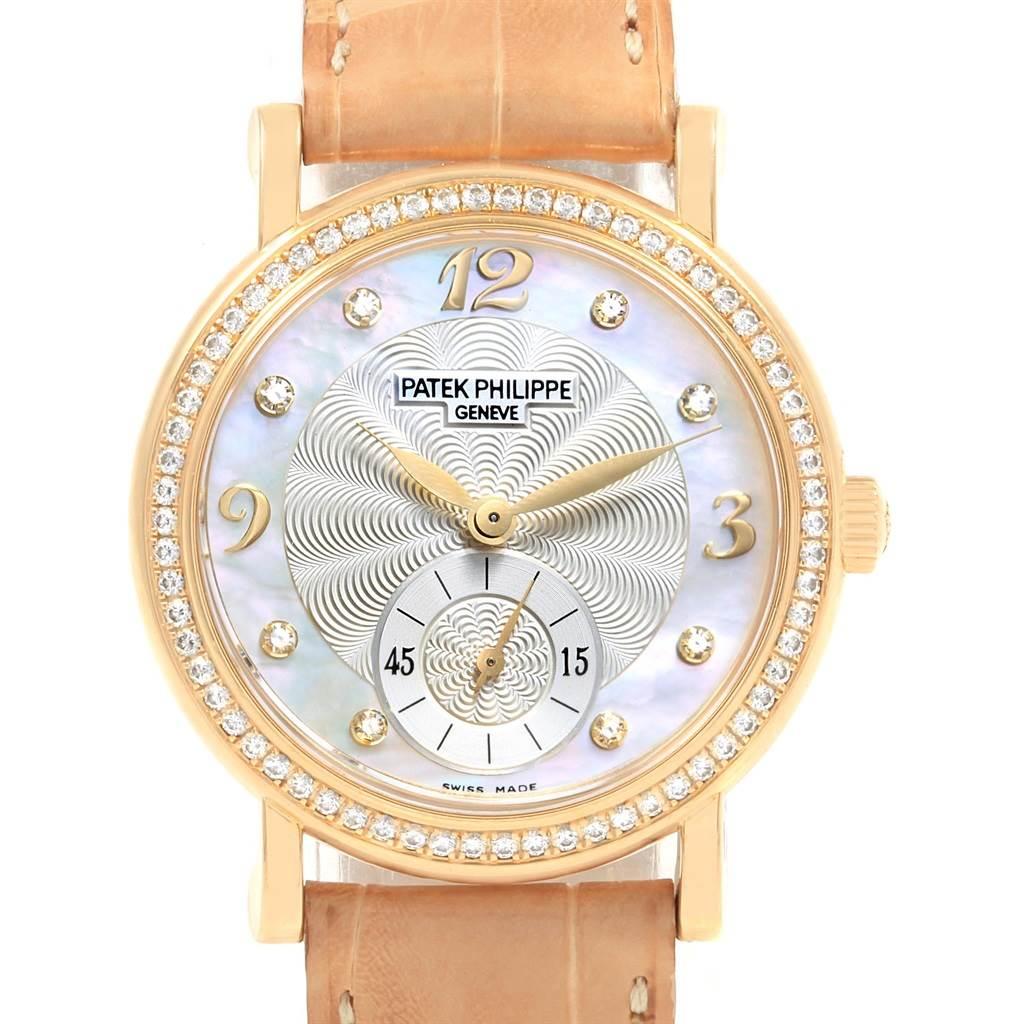 20321 Patek Philippe Calatrava Yellow Gold MOP Diamond Ladies Watch 4959 SwissWatchExpo