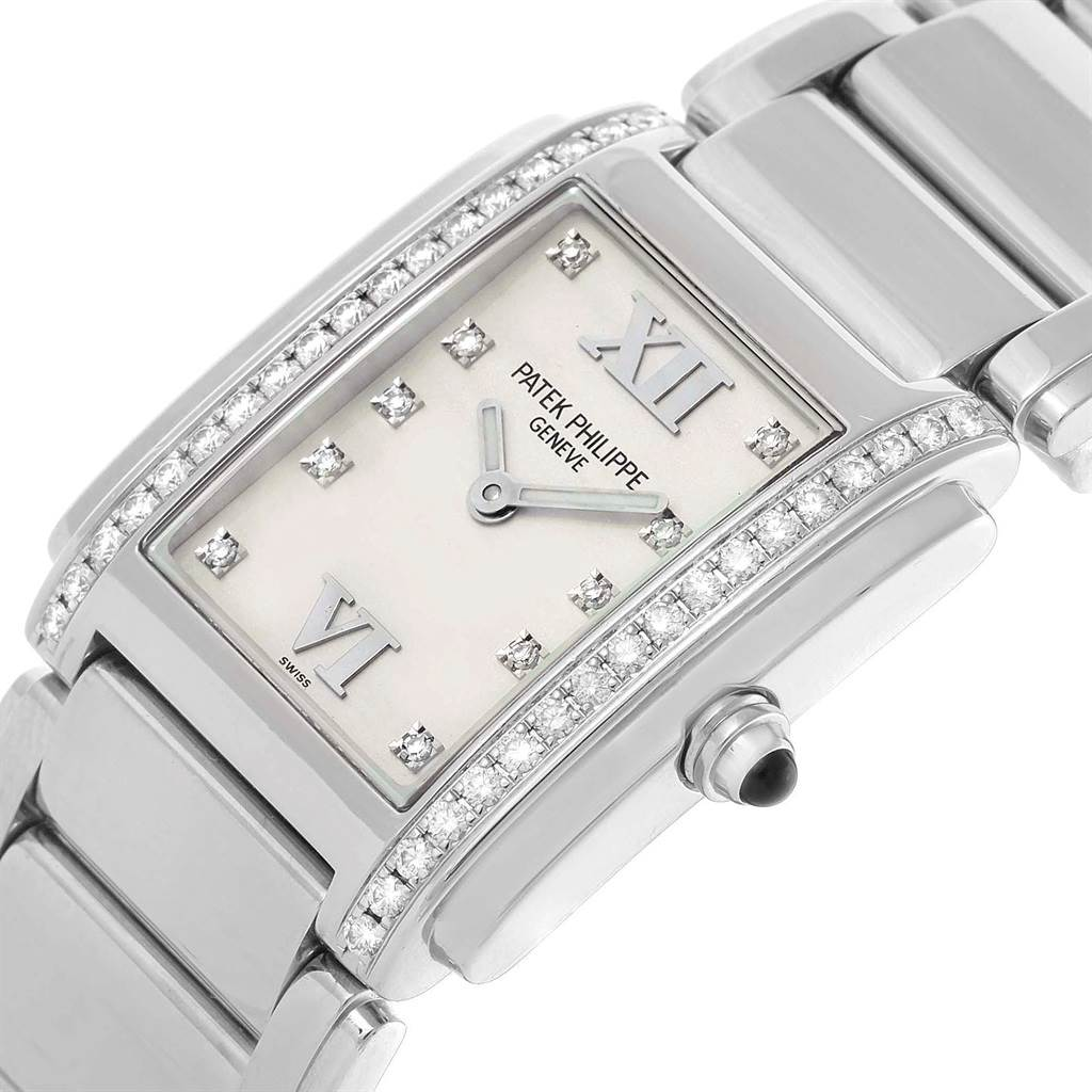 20623 Patek Philippe Twenty-4 Silver Diamond Dial Ladies Watch 4910 Box Papers SwissWatchExpo
