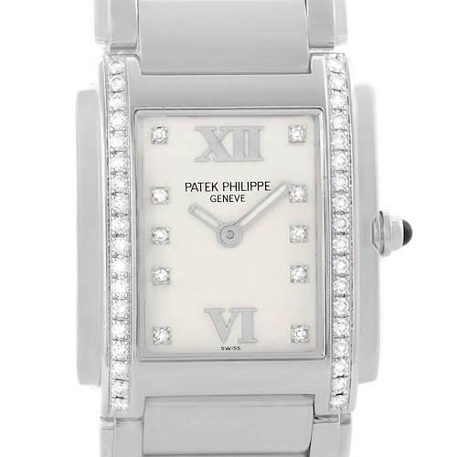 Photo of Patek Philippe Twenty-4 Silver Diamond Dial Ladies Watch 4910 Box Papers