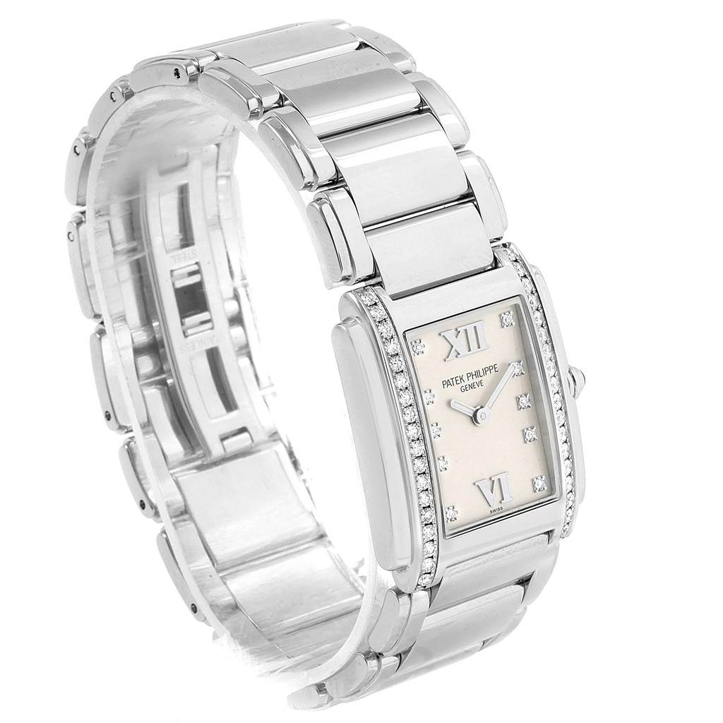 Patek Philippe Twenty-4 Silver Diamond Dial Ladies Watch 4910 Box Papers SwissWatchExpo