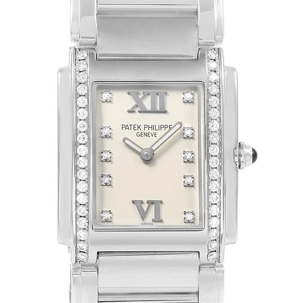 20963 Patek Philippe Twenty-4 Silver Diamond Dial Ladies Watch 4910 Box Papers SwissWatchExpo