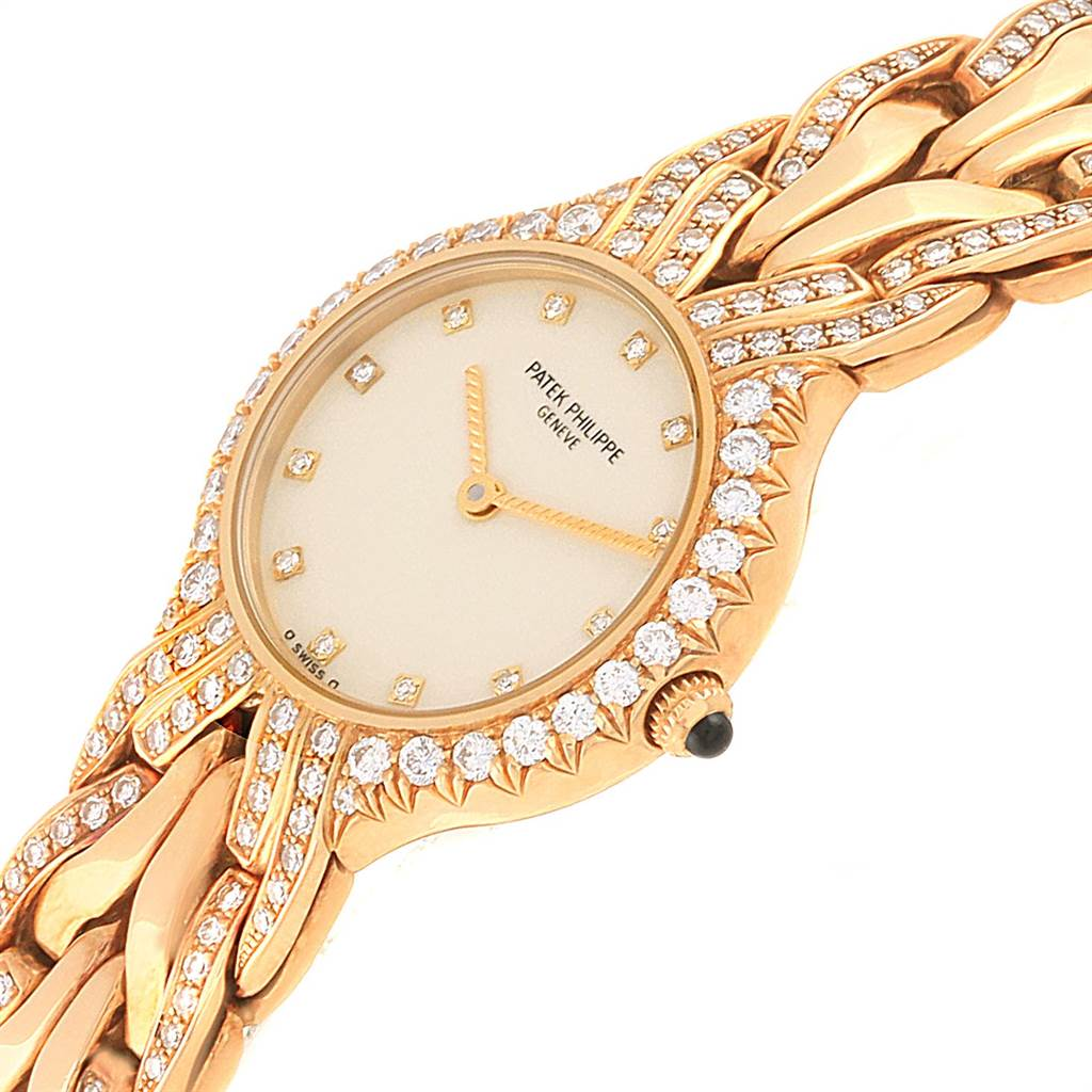 22176 Patek Philippe La Flamme 18k Yellow Gold Diamond Ladies Watch 4816 SwissWatchExpo