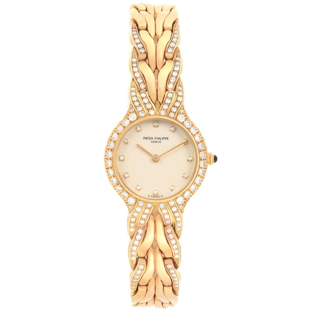 Patek Philippe La Flamme 18k Yellow Gold Diamond Ladies Watch 4816 SwissWatchExpo
