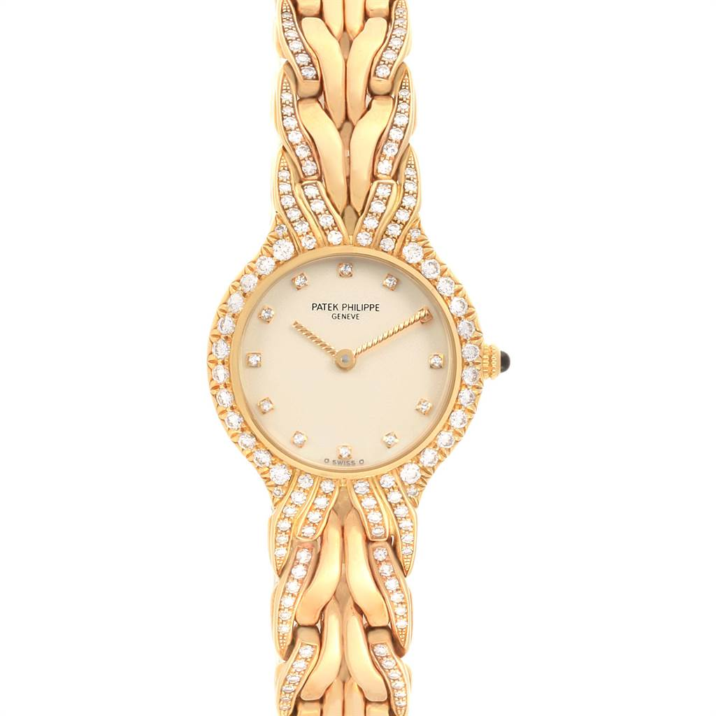 Patek Philippe La Flamme 18k Yellow Gold Diamond Ladies Watch 4816