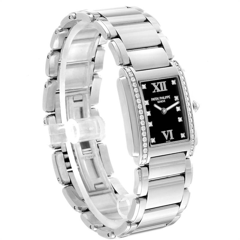 Patek Philippe Twenty-4 Black Diamond Dial Ladies Watch 4910 Papers SwissWatchExpo