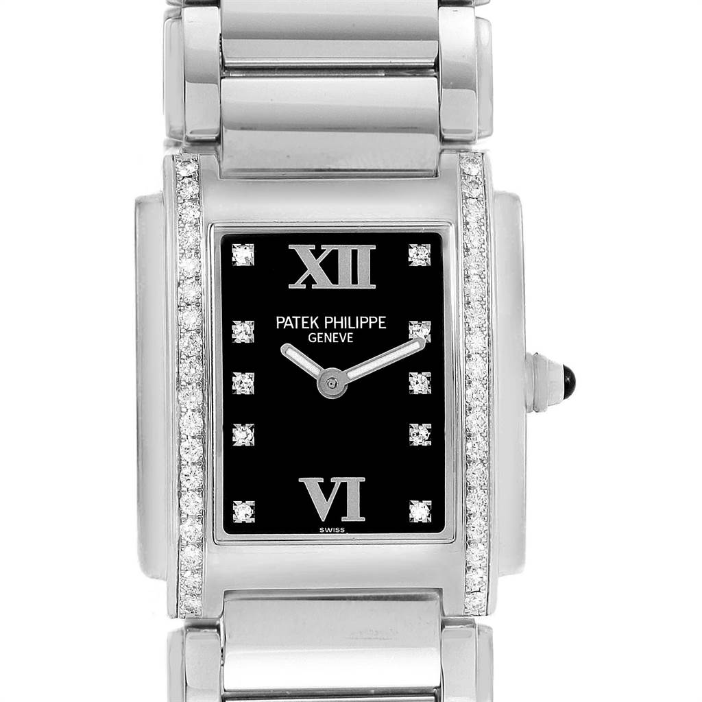 Patek Philippe Twenty-4 Black Diamond Dial Ladies Watch 4910 Papers