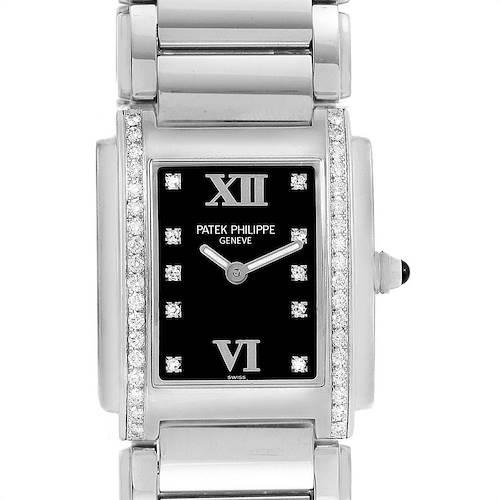 Photo of Patek Philippe Twenty-4 Black Diamond Dial Ladies Watch 4910 Papers