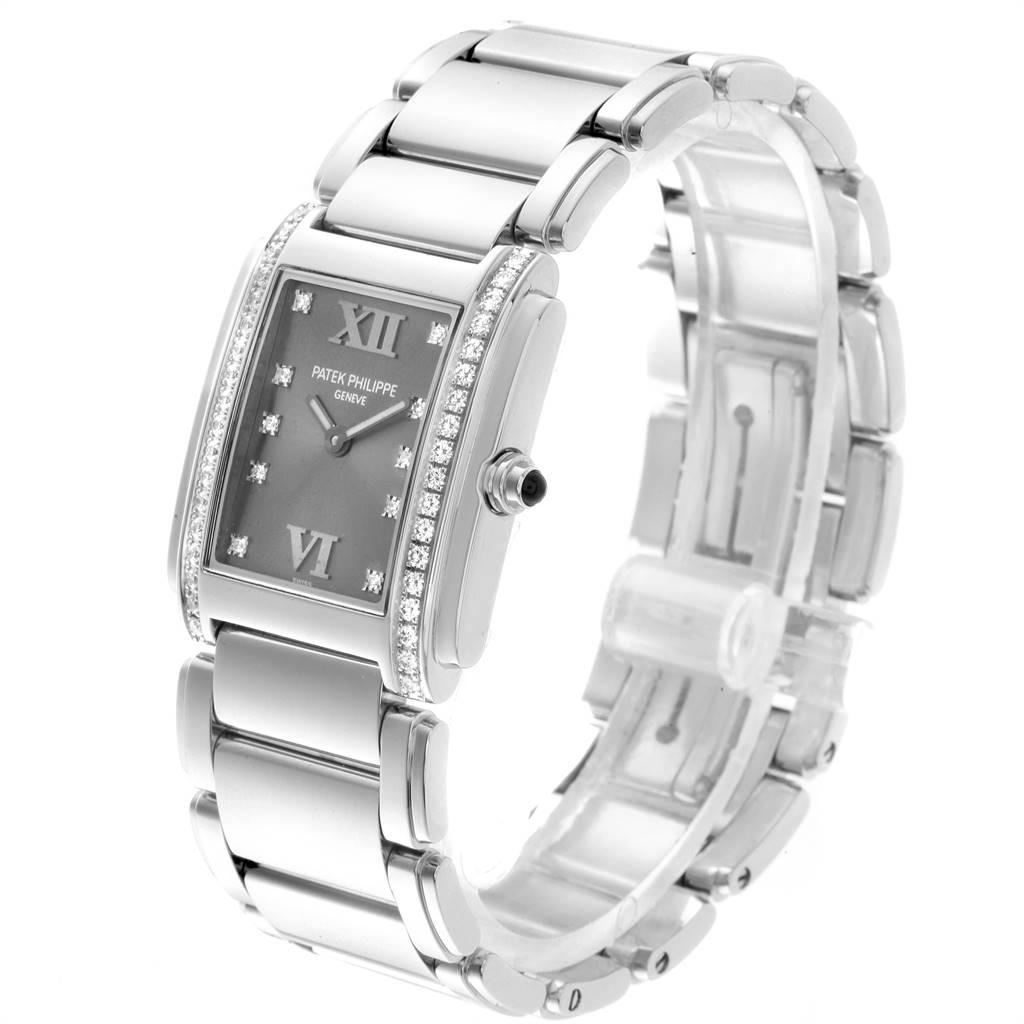 Patek Philippe Twenty-4 Grey Diamond Dial Steel Ladies Watch 4910 SwissWatchExpo