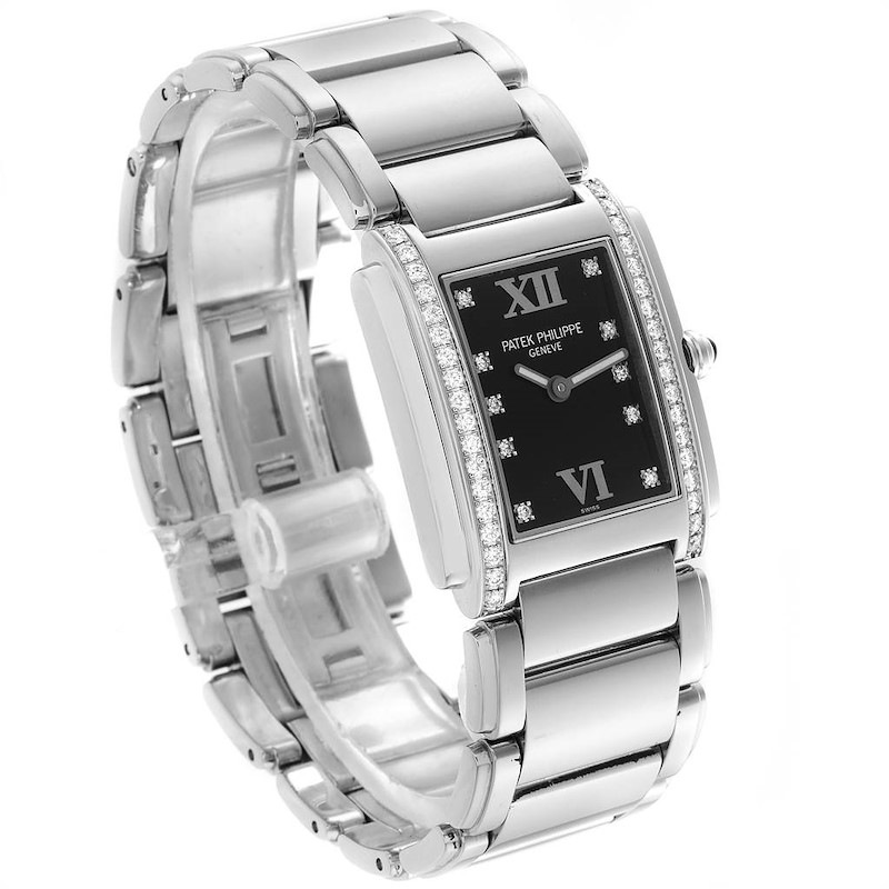 Patek Philippe Twenty-4 Black Diamond Dial Bezel Ladies Watch 4910 SwissWatchExpo