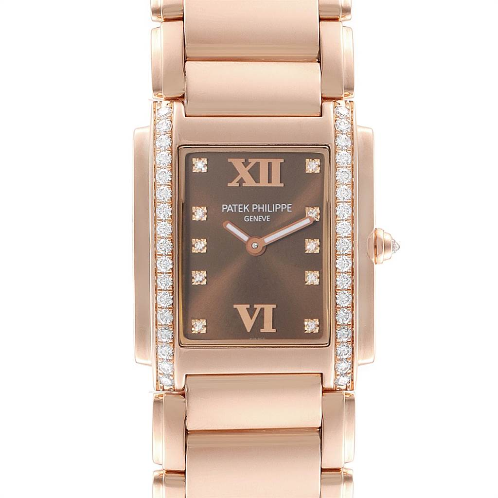 Patek Philippe Twenty-4 Rose Gold Chocolate Dial Diamond Ladies Watch 4910
