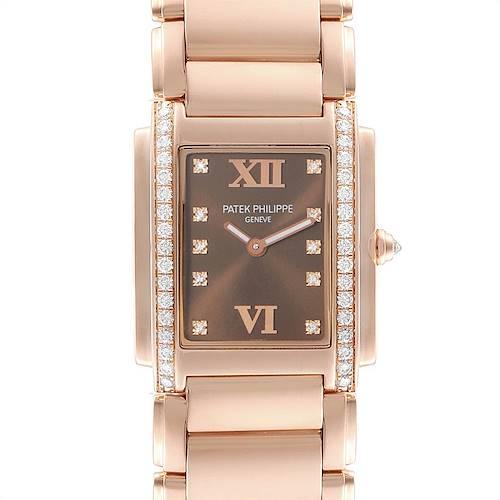Photo of Patek Philippe Twenty-4 Rose Gold Chocolate Dial Diamond Ladies Watch 4910