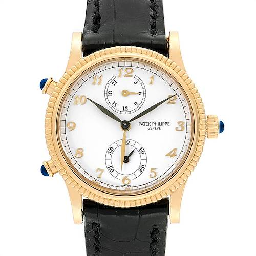 Photo of Patek Philippe Calatrava Travel Time Yellow Gold Watch 4864 Papers