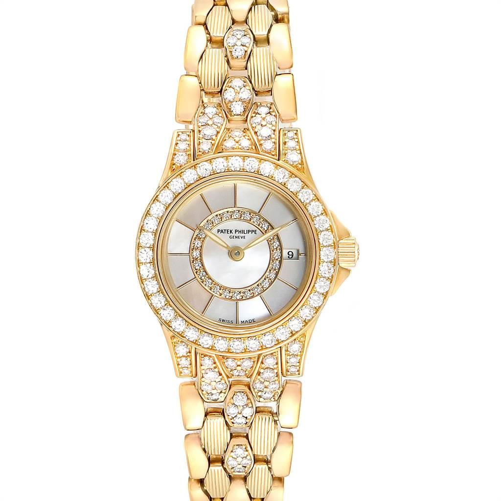 23437 Patek Philippe Neptune Yellow Gold Diamond Ladies Watch 4881-120 SwissWatchExpo