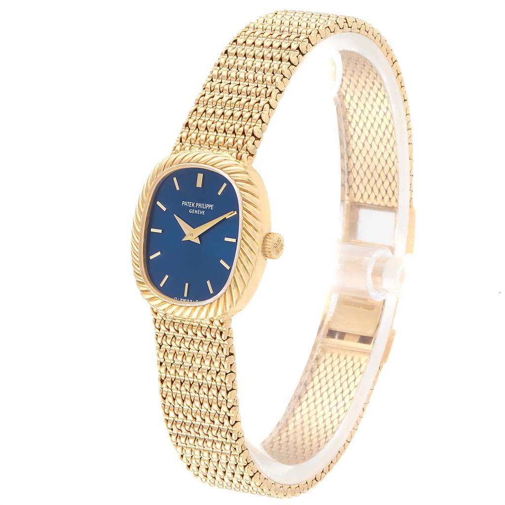 Patek Philippe Golden Ellipse 18k Yellow Gold Blue Dial Ladies Watch 4461 SwissWatchExpo