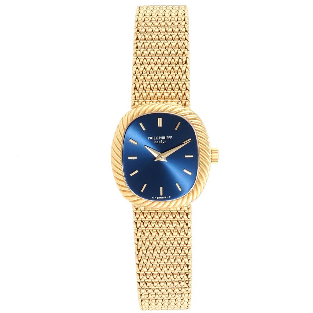 23862 Patek Philippe Golden Ellipse 18k Yellow Gold Blue Dial Ladies Watch 4461 SwissWatchExpo