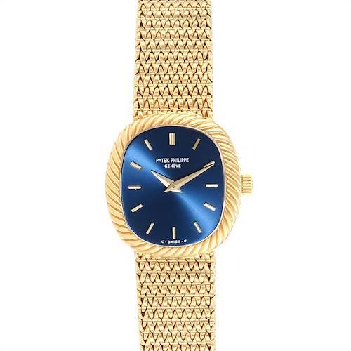 Photo of Patek Philippe Golden Ellipse 18k Yellow Gold Blue Dial Ladies Watch 4461