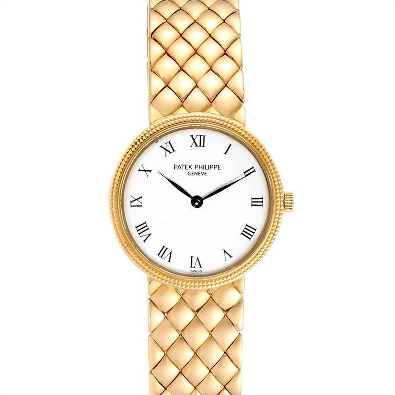 Patek Philippe Calatrava Yellow Gold Hobnail Bezel Ladies Watch 4819 SwissWatchExpo