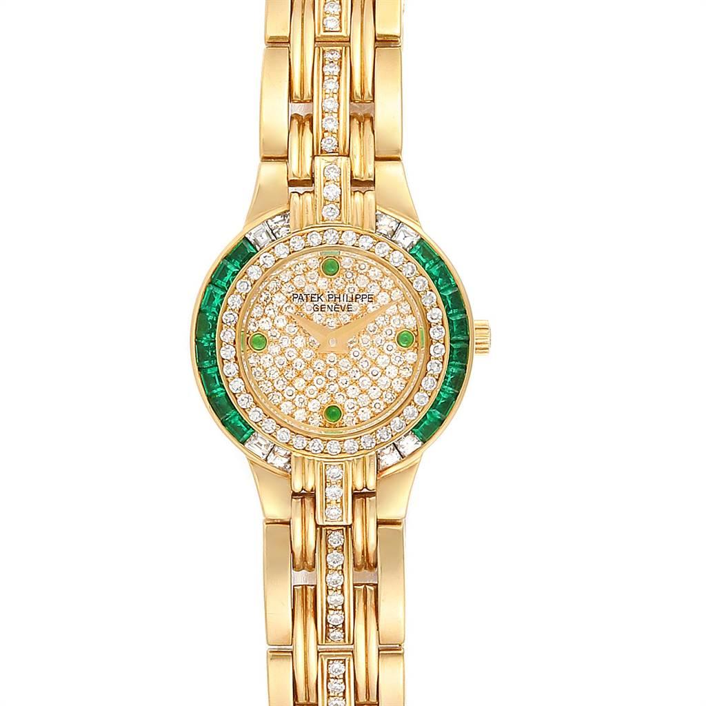 24614 Patek Philippe Yellow Gold Diamond Emerald Ladies Watch 4786 SwissWatchExpo