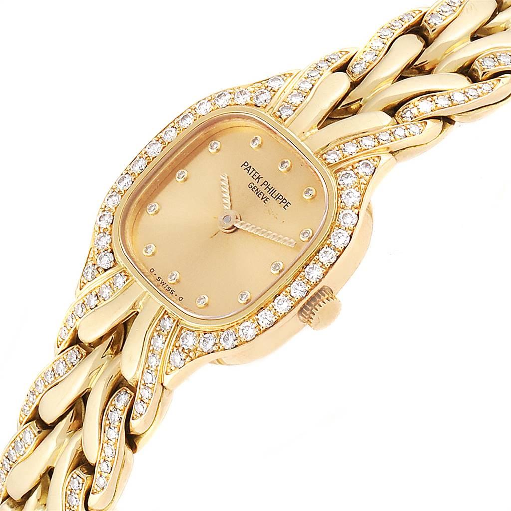 24736 Patek Philippe La Flamme 18k Yellow Gold Diamond Ladies Watch 4715 SwissWatchExpo