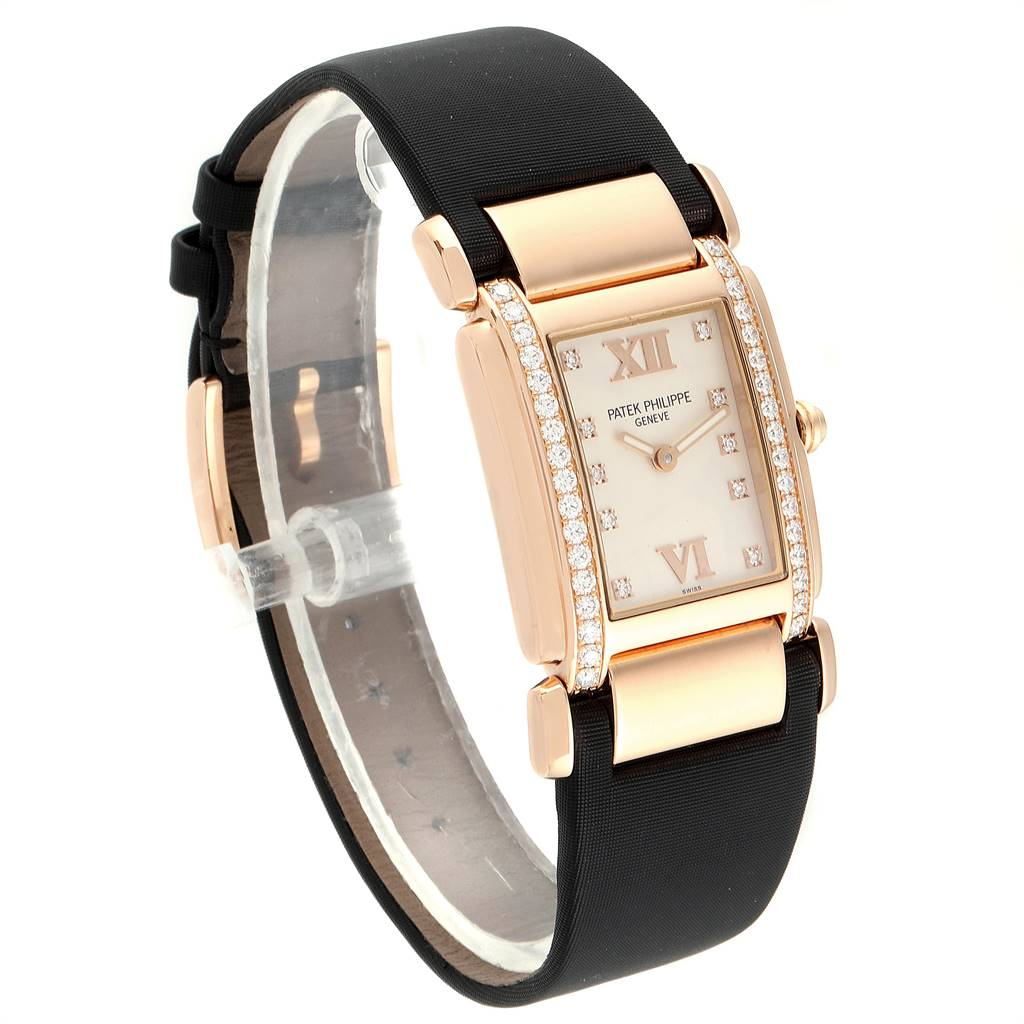 Patek Philippe Twenty-4 Rose Gold Black Strap Diamond Ladies Watch 4920R SwissWatchExpo