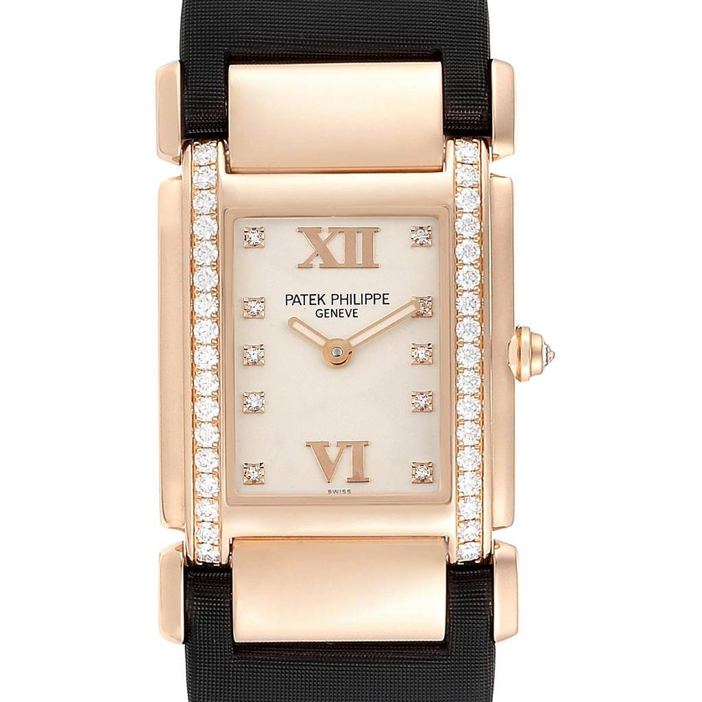 Patek Philippe Twenty-4 Rose Gold Black Strap Diamond Ladies Watch 4920R