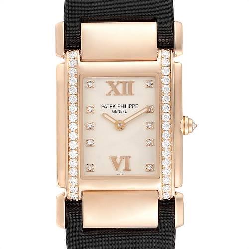 Photo of Patek Philippe Twenty-4 Rose Gold Black Strap Diamond Ladies Watch 4920R