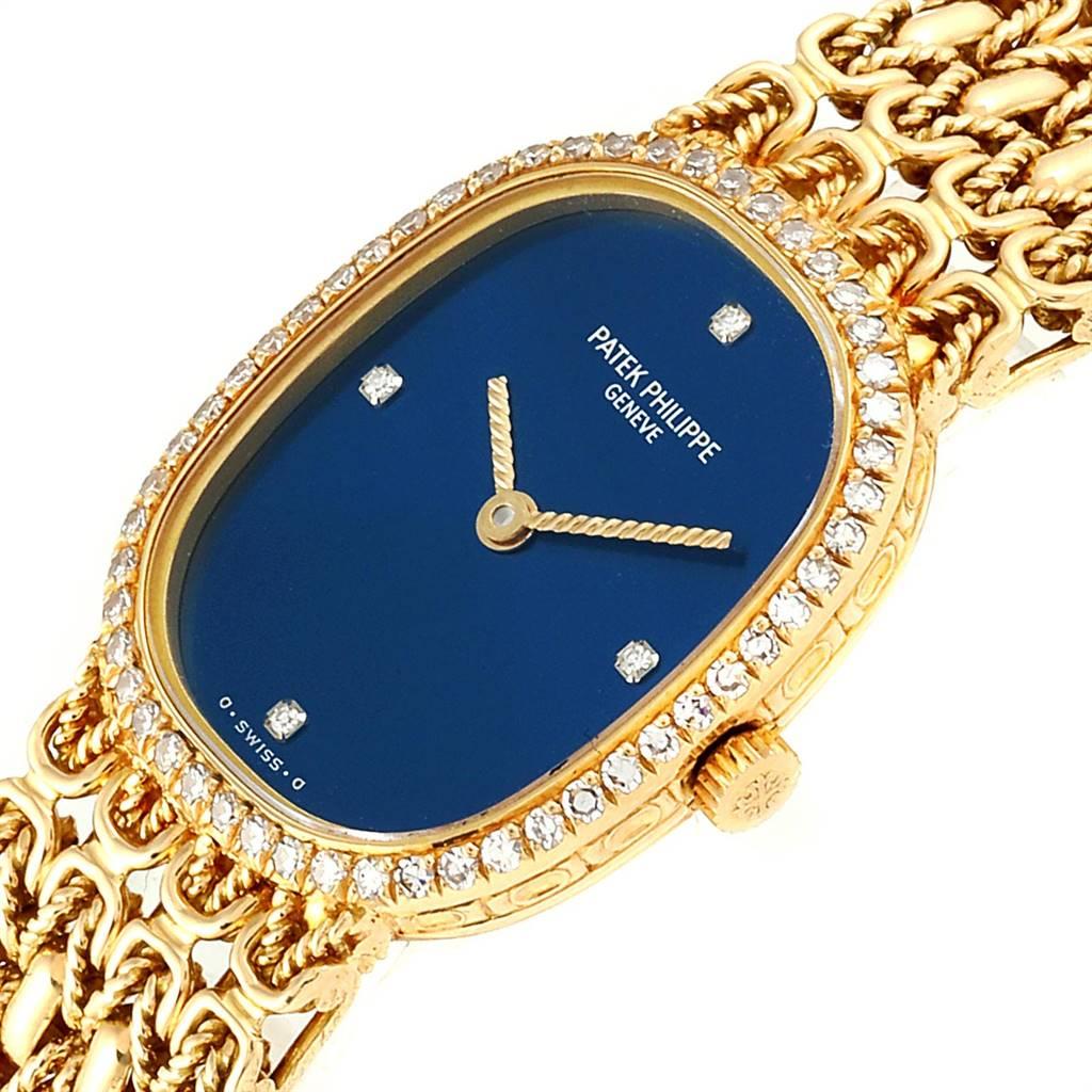 Patek Philippe Golden Ellipse 18k Yellow Gold Blue Dial Ladies Watch 4698 SwissWatchExpo
