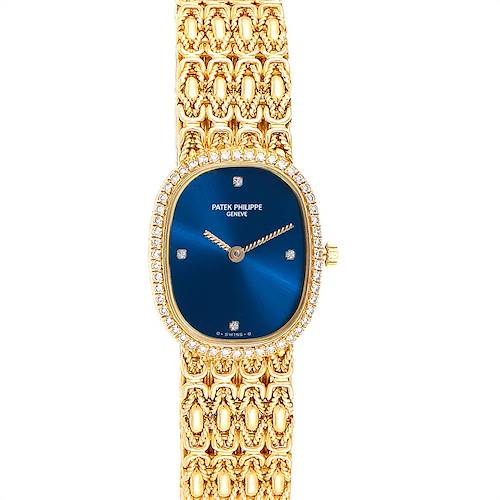 Photo of Patek Philippe Golden Ellipse 18k Yellow Gold Blue Dial Ladies Watch 4698