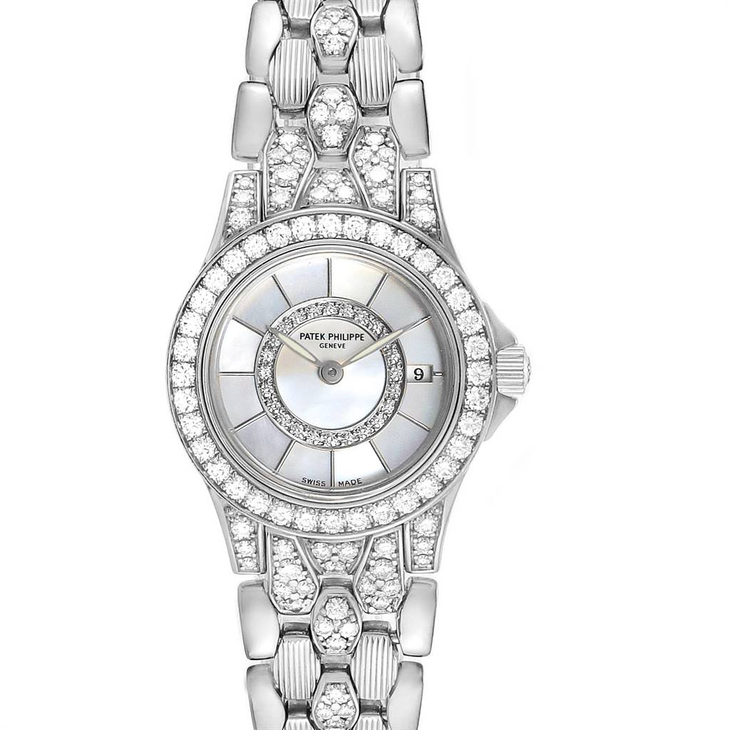 Patek Philippe Neptune White Gold Diamond Ladies Watch 4881