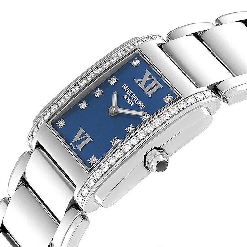 Patek Philippe Twenty-4 Blue Dial Steel Diamond Ladies Watch 4910 SwissWatchExpo