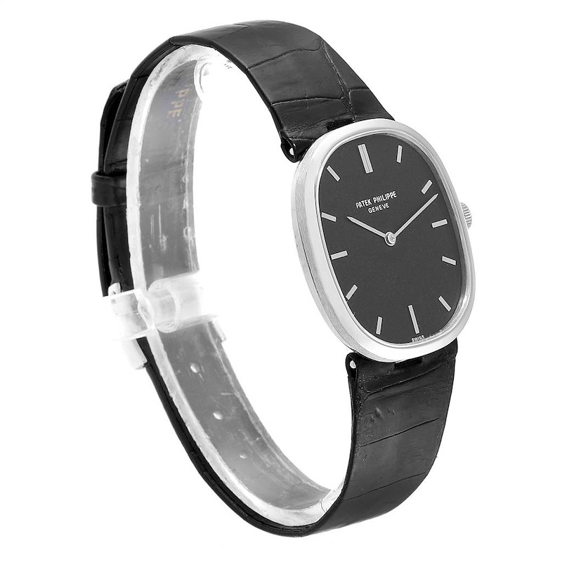 Patek Philippe Golden Ellipse 18k White Gold Black Dial Ladies Watch 3548 SwissWatchExpo