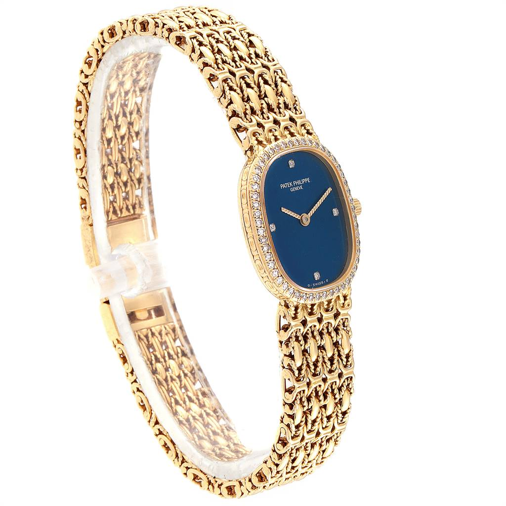 Patek Philippe Golden Ellipse 18k Yellow Gold Blue Dial Ladies Watch 4698 SwissWatchExpo