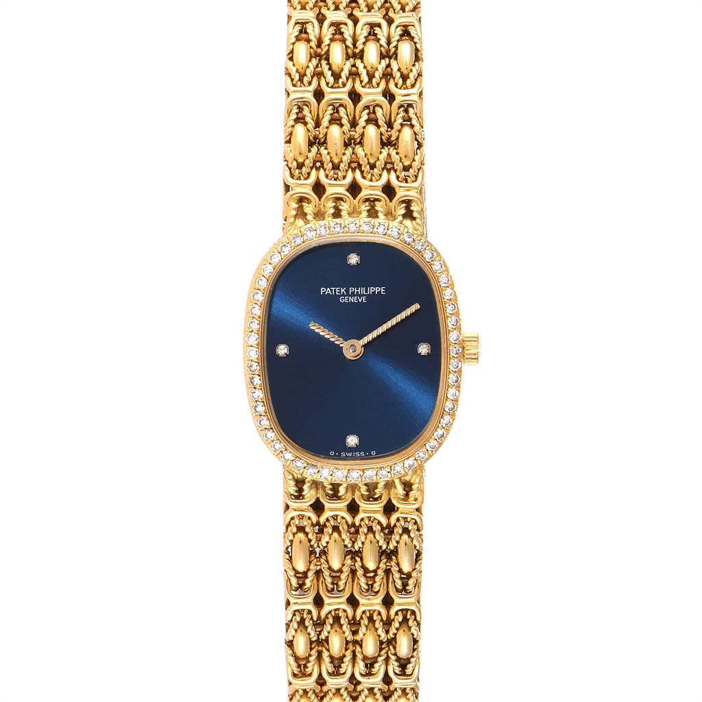 Patek Philippe Golden Ellipse 18k Yellow Gold Blue Dial Ladies Watch 4698