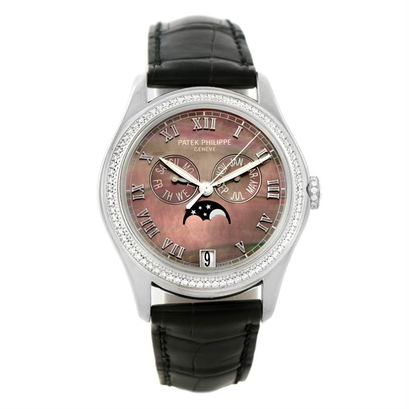 8045 Patek Philippe Annual Calendar White Gold MOP Diamond Watch 4936G SwissWatchExpo