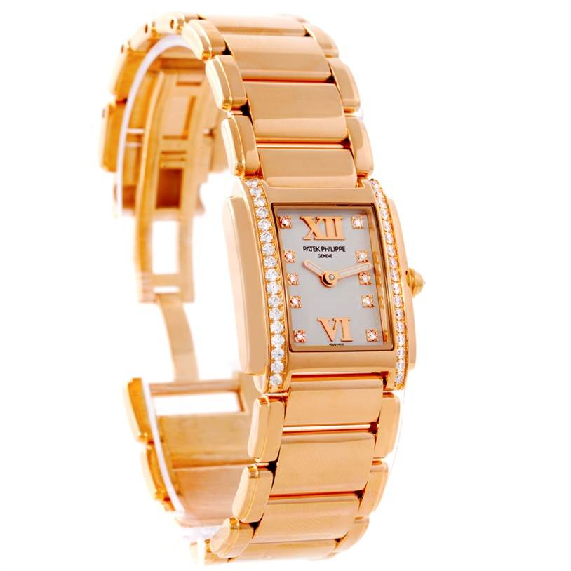 8602P Patek Philippe Twenty-4 Small 18K Rose Gold Diamond Watch 4908/11R SwissWatchExpo