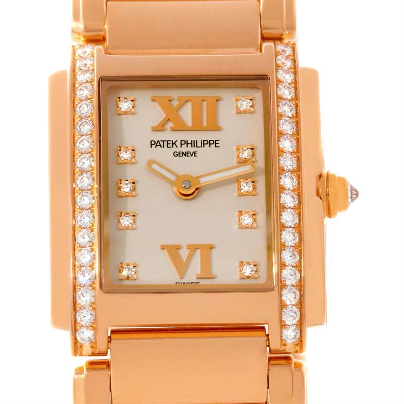Patek Philippe Twenty-4 Small 18K Rose Gold Diamond Watch 4908/11R