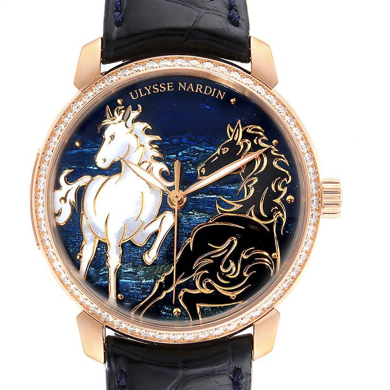 Ulysse Nardin Classico Horse Rose Gold Diamond Limited Edition Watch 8156 SwissWatchExpo