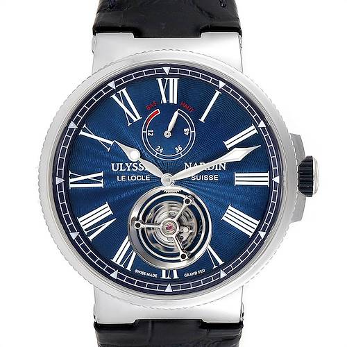 Photo of Ulysse Nardin Marine Tourbillon 43mm Mens Watch 1283-181 Box Card