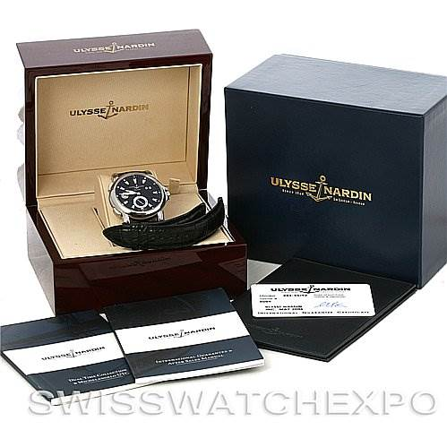 4129 Ulysse Nardin 243-55/92 GMT Big Date 42mm Mens Watch SwissWatchExpo
