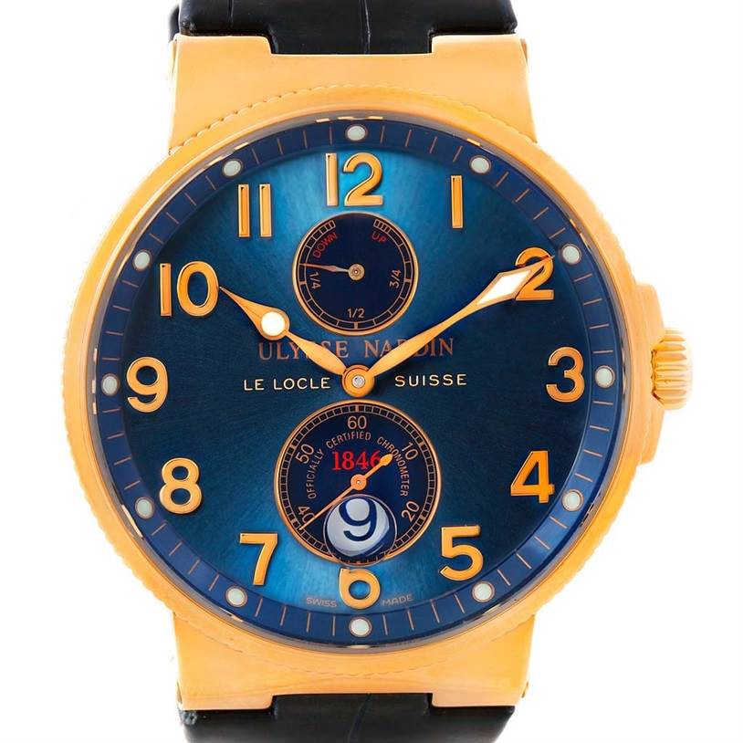 8096AB Ulysse Nardin Maxi Marine Chronometer 18K Rose Gold Watch 266-66/623 SwissWatchExpo