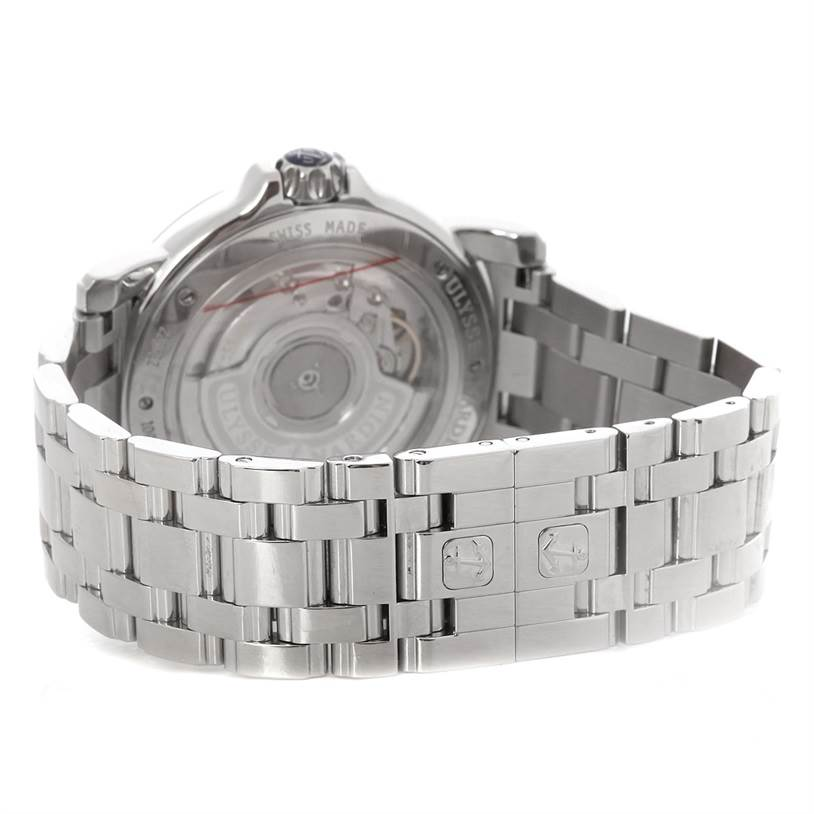 4708 Ulysse Nardin Big Date GMT Ladies Steel Watch 223-22 SwissWatchExpo