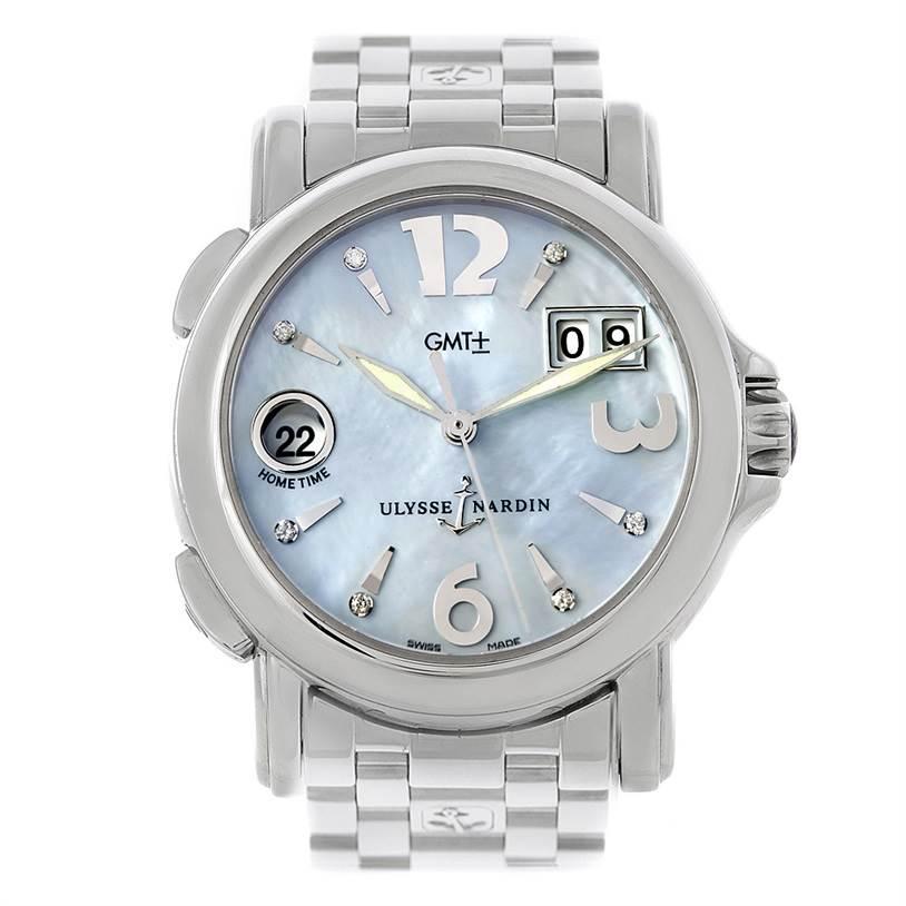 Ulysse Nardin Big Date GMT Ladies Steel Watch 223-22 SwissWatchExpo