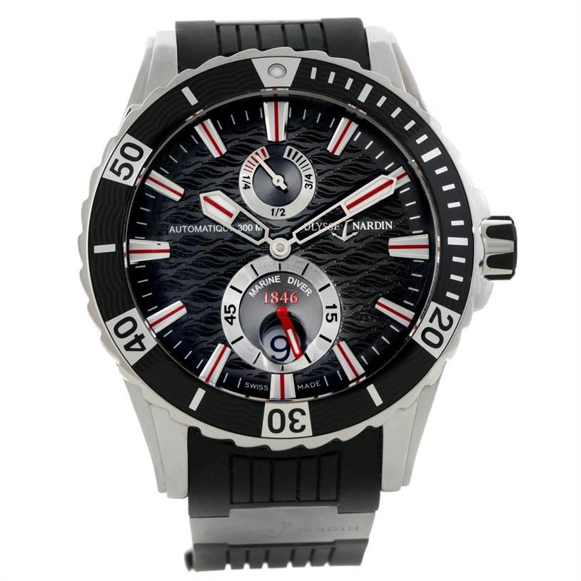9186 Ulysse Nardin Maxi Marine Diver Black Dial Rubber Watch 263-10-3-92 SwissWatchExpo