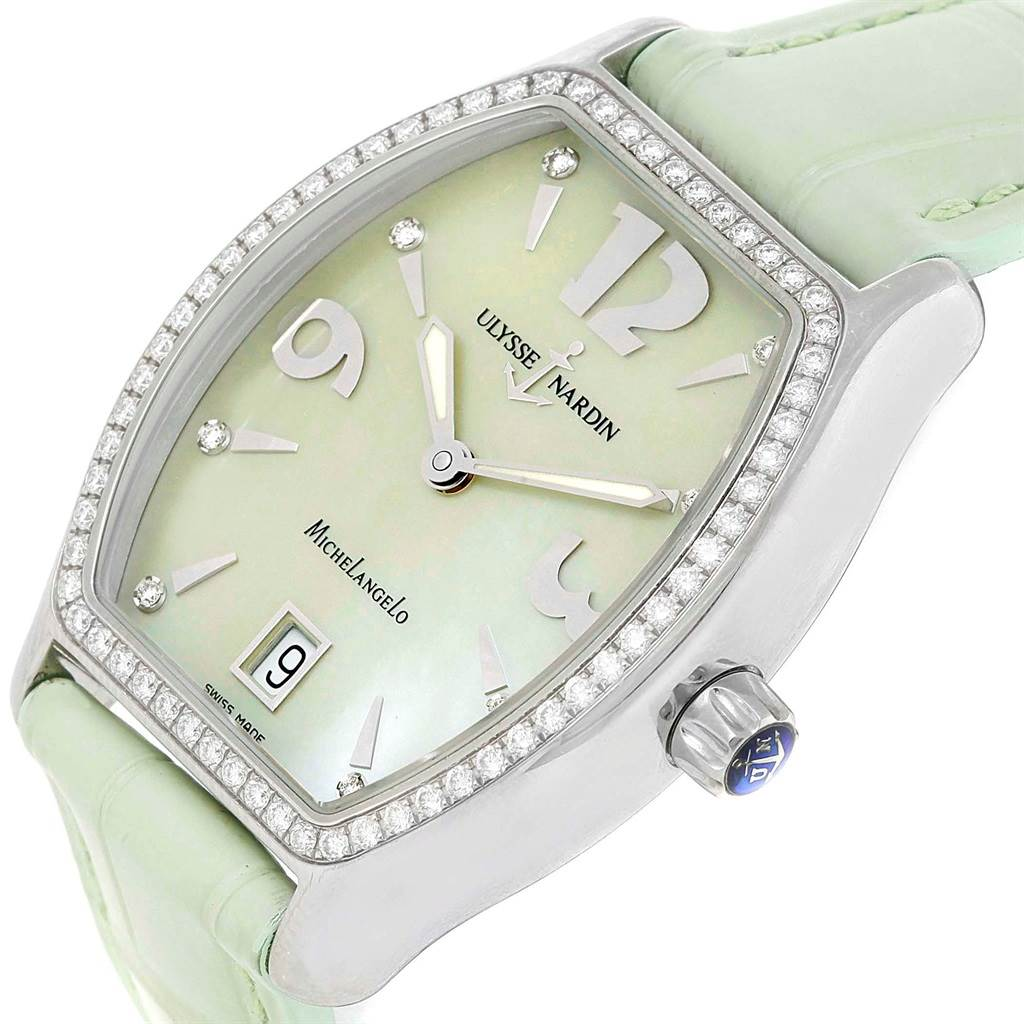 10016 Ulysse Nardin Michelangelo Midsize Steel Diamond Watch 113-48  SwissWatchExpo